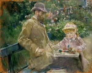 Berthe Morisot, Eugène Manet et sa fille dans le jardin de Bougival, 1881, Musée Marmottan, Paris