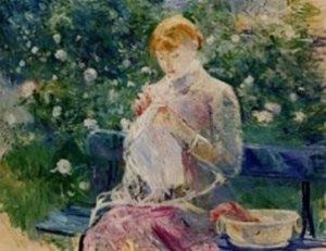 Berthe Morisot, Pasie sewing in Bougival's garden, 1881, Pau, Musée des Beaux Arts