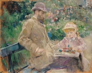 Berthe Morisot, Eugene Manet and his daughter at Bougival,1881, Musée Marmottan, Paris