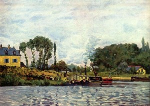 Alfred Sisley, Boats at the lock at Bougival, 1873, Paris, Musée d'Orsay